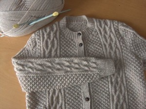 Arran Cardigan Blackberry Stitch with Twisted Cables